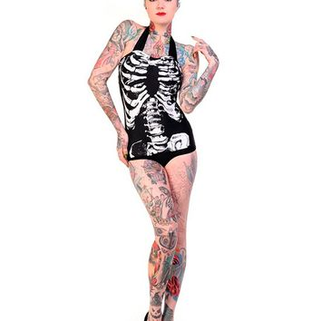 "Women's ""Skeleton"" Retro Swimsuit by Banned Apparel (Black)"