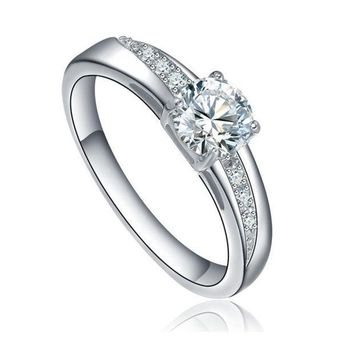 Stainless Steel Round Cubic Zirconia Solitaire Wedding Engagement Ring = 1932108868