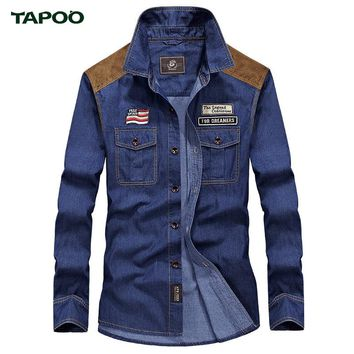 TAPOO Jeans Shirt Men Casual Denim Shirts Males Cotton Spring Shirt Vintage Top Quality Light Blue Dark Blue Cool Brand Clothing