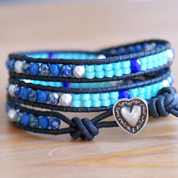 Beaded leather wrap bracelet, Cobalt Azure Blue picasso Silver Sea foam, heart jewelry, gift idea, bohemian, hipster by OlenaDesigns