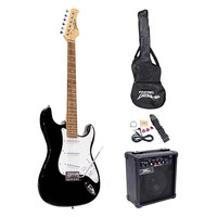 Pyle Beginner Electric Guitar Package- Black