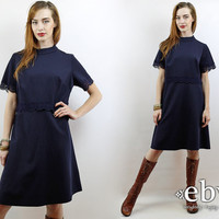 Vintage 60s Navy Mini Dress L XL Crochet Dress Navy Dress 60s Mini Dress Space Age Dress