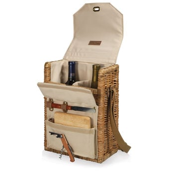 Corsica-Natural Canvas Willow Wine Basket