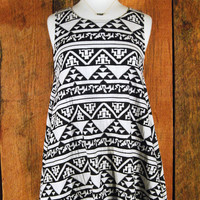 Aztec Tunic Dress -Black and White