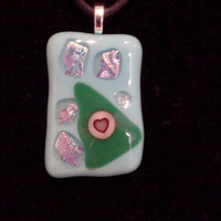 Pastel Fused and Dichroic Glass Pendant with a Pink Heart Accent on a Black Rubber Neck Cord