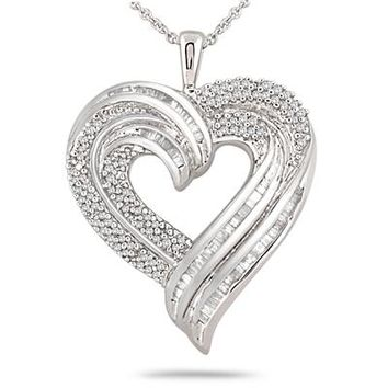 1 Carat Round and Baguette Diamond Heart Pendant in .925 Sterling Silv