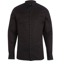 River Island MensBlack skinny long sleeve shirt