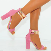 Ladies Strappy Sandals Gold Ankle Cuff Strap Block Heel High Heels Shoes