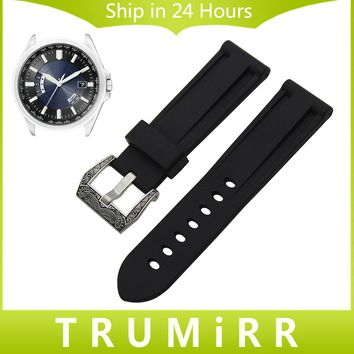 24mm Silicone Rubber Watchband with Brush 316L Stainless Steel Buckle for Citizen Casio Watch Band Wrist Strap Bracelet Black