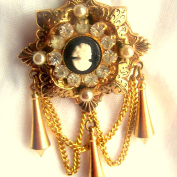 CORO Brooch Pin Cameo Rhinestones Vintage Pearls Chain Bangles Goldtone spectacular Gift for her wedding Jewelry