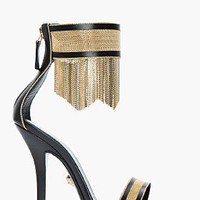 Versace Black & Gold Leather Fringed Ankle-strap Sandals for women | SSENSE