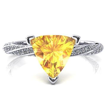 Elysia Trillion Yellow Sapphire 3 Prong 3/4 Eternity Diamond Accent Ring