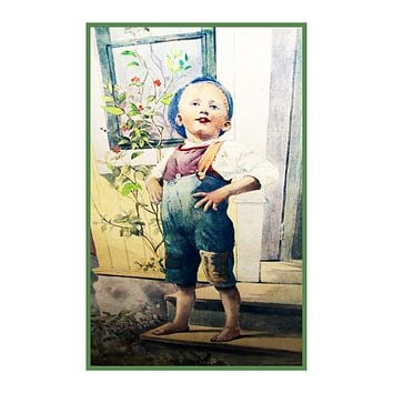 Young Boy on The Steps by Gerda Tiren Holiday Christmas Counted Cross Stitch Pattern