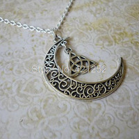 12pcs/lot Silver Moon and Triquetra Necklace Moon Jewelry Crescent Moon Necklace Wicca Necklace in silver
