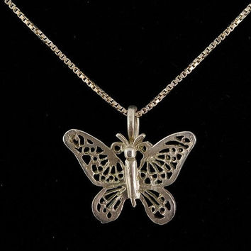 Sterling Silver Butterfly Necklace Vintage Stamped 925 Chain Filigree Pendant Estate Jewelry