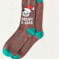 Meowy Xmas Sock- Red Multi One