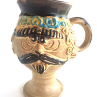 Bennett Welsh for Pacific Stoneware c1971 Mans Face Mug, Vintage Signed Bennett Welsh Face Mug for Pacific Stoneware Inc.