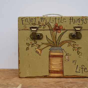 Wood Box Hand Painted Wood Box Cottage Chic Decor Rustic Wood Box Country Home Decor Enjoy The Little Things In Life Faith Hope And Love