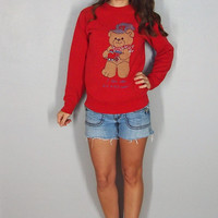 Vintage Teddy Bear Sweater, Cute Ugly Christmas Sweater, Train Engineer, Fall Winter Jumper, 70s XS Small