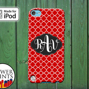 Red Quatrefoil Pattern Cute Cursive Custom Monogram Initials for iPod Touch 4th Generation and iPod Touch 5th Generation Gen Plastic Rubber