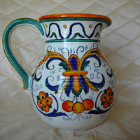 Colorful Hand Painted Ceramic Pitcher by Italian