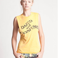 Dazed N Confused Graphic Sleeveless Muscle Tee Shirt in Yellow by Jawbreaking | Edge of Urge