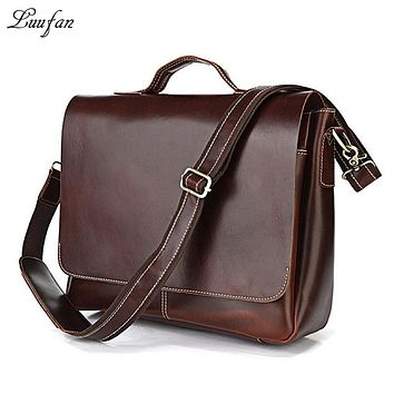 Men's genuine leather briefcase fit Laptop Glossy vintage Cow leather handbag leather business bag work tote