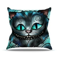 "Mandie Manzano ""Mad Chesire"" Teal Cat Outdoor Throw Pillow"