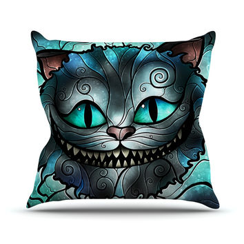 "Mandie Manzano ""Mad Chesire"" Teal Cat Throw Pillow"