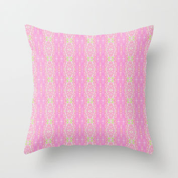 Pretty Pink And Green Abstract  Throw Pillow by KCavender Designs