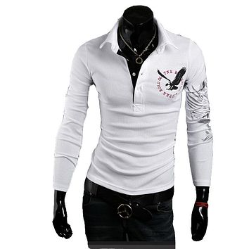 New brand Polo Men's long Sleeve T Polo Slim Fit Fashion Eagle Printed on the back