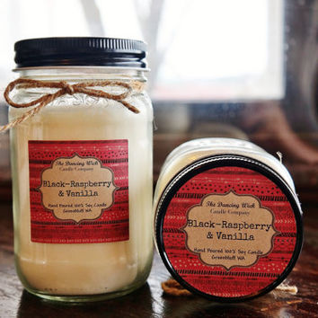 Soy Candle//Black Raspberry & Vanilla // Large Pint // 16 oz.// 100% Soy // Mason Jar Candle // Hand Poured