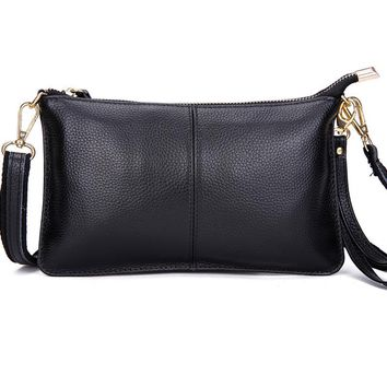 Genuine Leather Women Clutch Bags Chain Shoulder Bag Real Cowhide Purse Organizer Evening Party Handbags Classic Girl Gift ZX033
