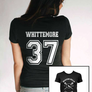 Whittemore 37 Beacon Hills Lacrosse Women Black Tshirt