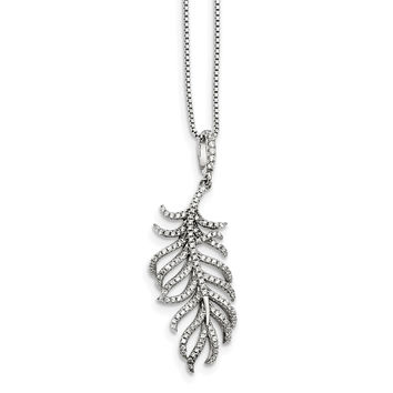 Sterling Silver CZ Brilliant Embers Feather Necklace QMP1440