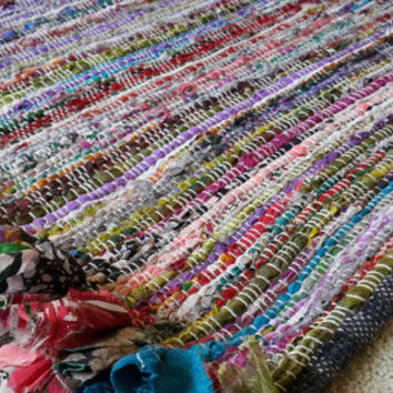 Rag Rug Mat, Chindi Colorful Area Rugs, Festival Boho Chic Hippie Floor Rug, Jewel Toned Woven Loom Rug FREE SHIPPING