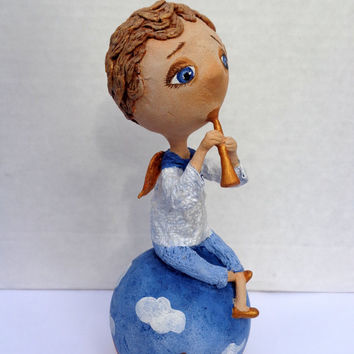 Angel on the clouds. Paper mache. Papier mache dolls. Paper mache doll