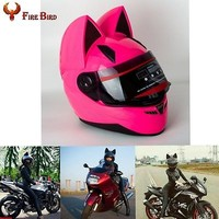 Pink Cute Full Face Motorcycle Helmets M /L /XL /XXL with Poke Cat Ear Horn New
