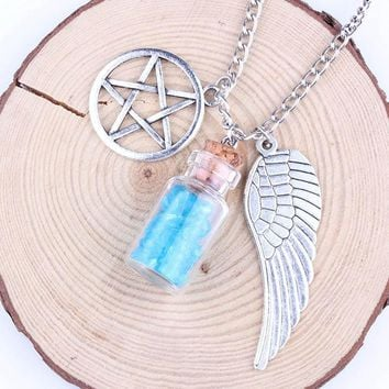 2018  Handmade Movie Supernatural Pentacle Angel Wings Wishing Bottle Guardian Series Silver Color Necklace Jewelry