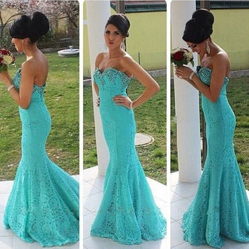 Sweetheart Lace Mermaid Prom Dresses