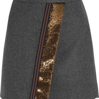 J.Crew - Origami sequin-paneled felt mini skirt