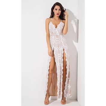 Love Is Blind White Sequin Floral Pattern Sleeveless Spaghetti Strap V Neck Double Slit Maxi Dress