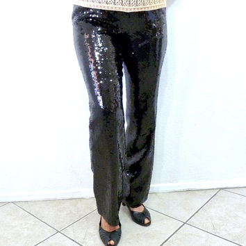 Vintage Black Sequin Pants 80s Black Silk Sequined Disco Pants