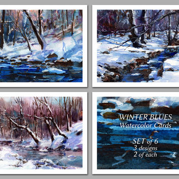 Winter Blues - Set of 6 NOTE CARDS - Watercolor Paintings by Linda Henry (NCWC075)
