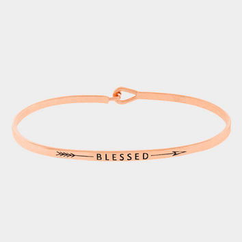 """Blessed"" Arrow Skinny Mantra Cuff Bracelet"