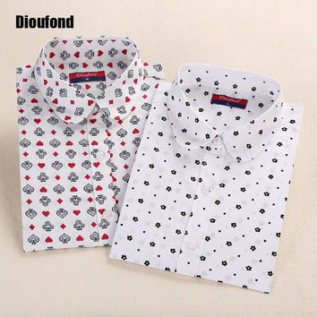 Dioufond Floral Women Blouses Polka Dot  Blouse Long Sleeve Shirt Women Cotton Camisas Femininas Blusa Feminina Ladies Tops