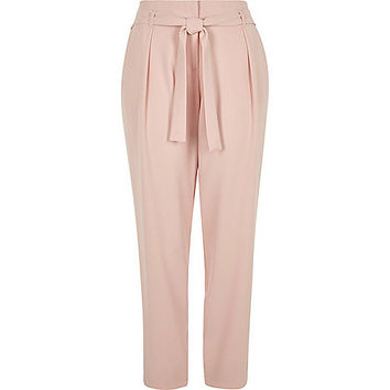 Light pink tie waist trousers