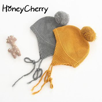 Baby Hat Boy Knitted Lovely Wool Ball Cap, And Girl, Pure Cotton Soft Go Out To Tie Rope Cap Newborn Photography Props Baby Hat