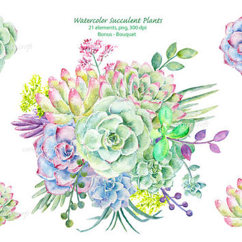 Watercolor clipart - Hand painted watercolor succulent plants printable instant download wedding bouquet, wedding invitations