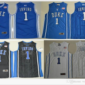 Duke Blue Devils #1 Kyrie Irving V Neck Mens American College Stitched Embroidery Cheap Sports basketball Shirts Throwback pro team Jerseys